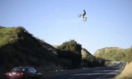 Dirt Bike Seen Flying Over Freeway
