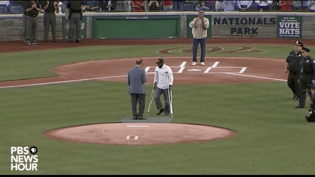 Injured Capitol Police Officer David Bailey Throws out First Pitch