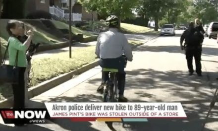 Akron Police Give Bike to 89-Year Old Veteran