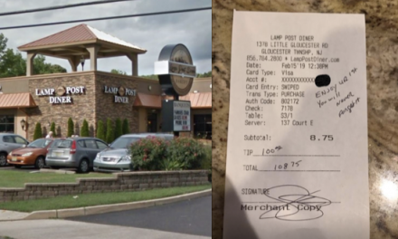 Police officer leaves huge tip for pregnant waitress
