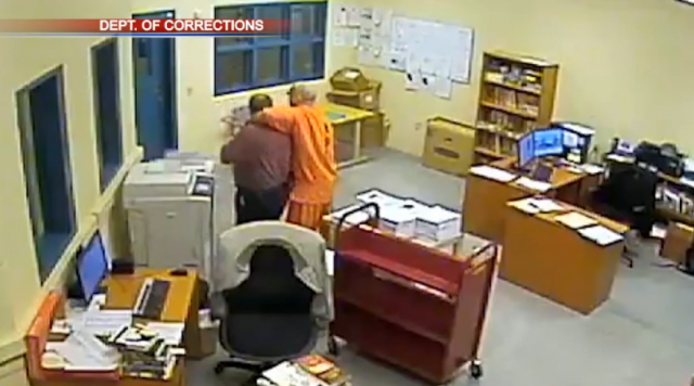 Watch prison inmate take librarian hostage before tactical team makes rescue