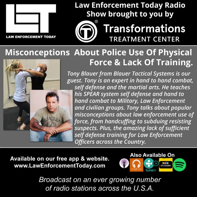 (Photos from Tony Blauer & the S.P.E.A.R. System facebook page, podcast cover image created by LET staff)