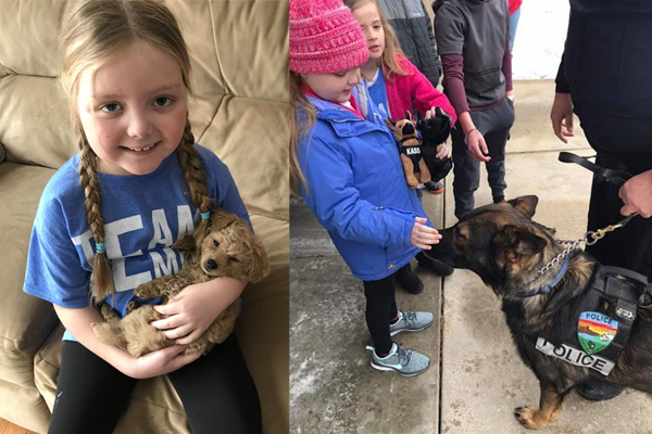 Girl With Inoperable Brain Tumor Surprised By Dozens of Police K9s and Officers