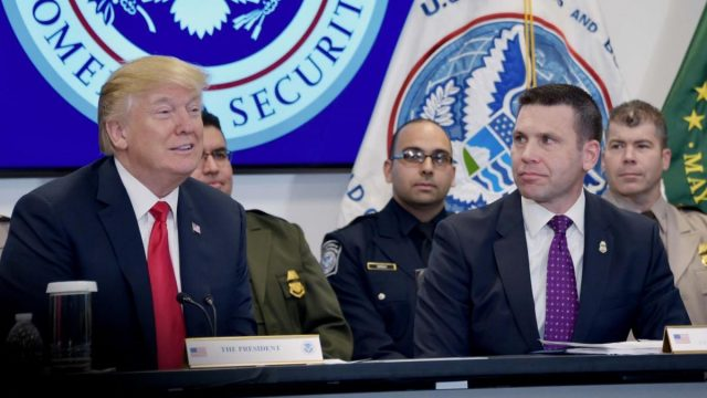President Trump attends a briefing about illegal immigration and illicit drug smuggling with U.S. Customs and Border Protection Commissioner Kevin McAleenan