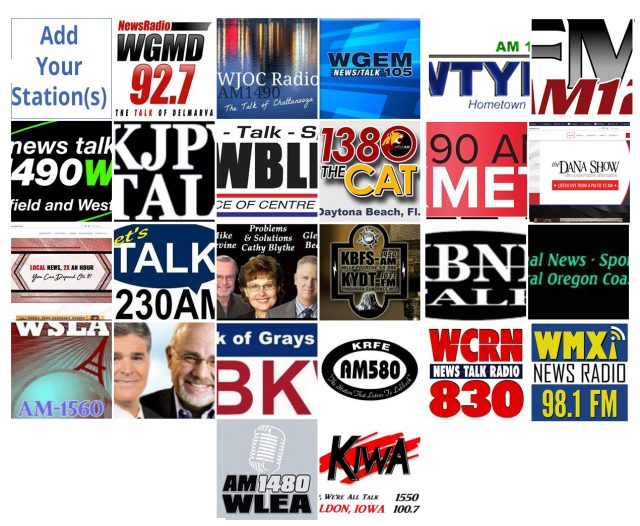 (Logos provided by affiliate radio stations, image from Law Enforcement Today Radio Show facebook page.)