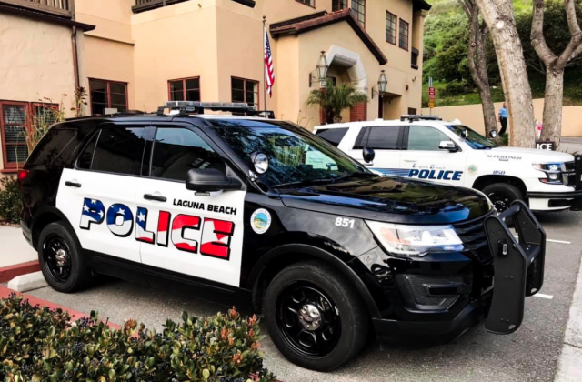 A Laguna Beach police patrol car appears in a photo tweeted by the agency on March 3, 2019.