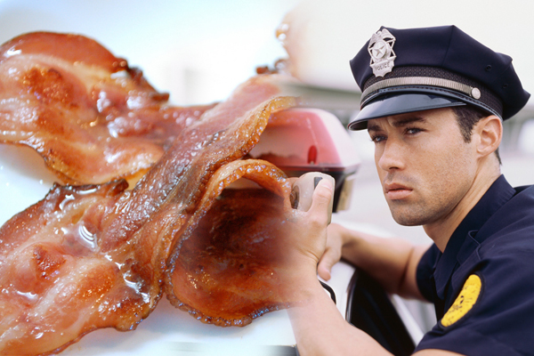 Police Officer Calls For Bacon Backup