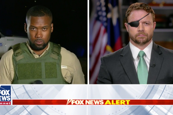 "Reporter Lawrence Jones and Republican Texas Rep. Dan Crenshaw discuss the border crisis on ""Hannity,"" Apr. 4, 2019. Fox News screenshot"