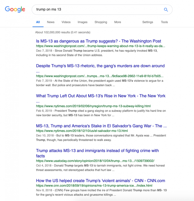 Google search on MS-13