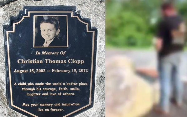 Men charged with urinating on memorial for boy who died of brain cancer