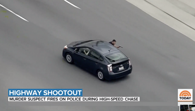 Murder suspect opens fire on police during high-speed chase