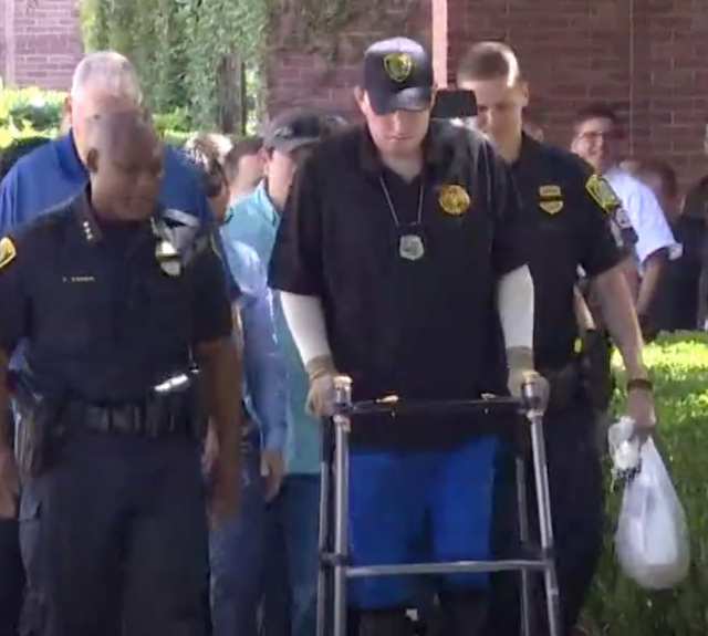 Thursday, Officer John Daily was finally able to head home, walking out of the hospital he's been in for nearly six months.