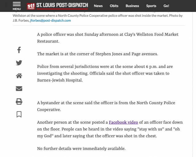 Breaking News: Officer down – newspaper shares Facebook live of officer's death