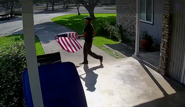 Video shows man stealing American flag, homeowner puts up a bigger one