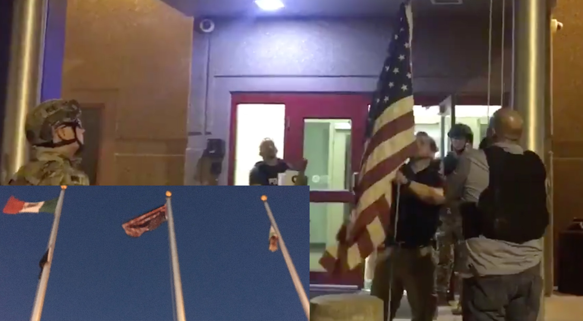 Protestors destroy American, Thin Blue Line flags, raise