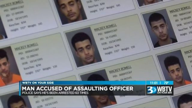 According to WBTV, 23-year old Romell Mackey has been arrested a contemptible 63 times before he finally assaulting three police officers on Tuesday night.