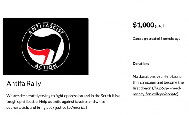 Crowdfunding site shuts down page for cop's legal expenses after ANTIFA accuses officer of hate crime.