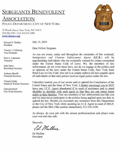 PBA letter to NYPD on ICE