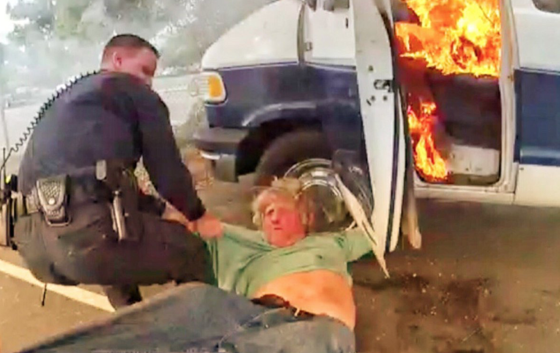 Body Cam Shows Officers Rescue Mentally Distressed Man From Burning Van Before It Explodes