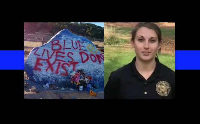 'Blue Lives Don't Exist' - memorial for fallen officer vandalized twice