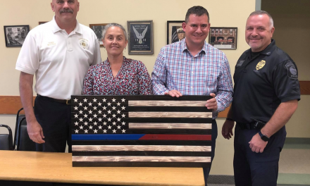 "City councilor gifted Thin Blue Line flag.  Town of ""woke"" social justice warriors screams racism."