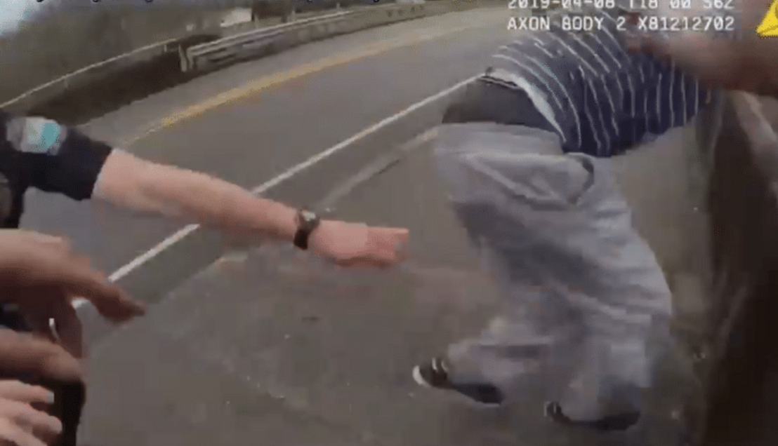 Watch: He tried to jump off a bridge. These cops got there just in time.