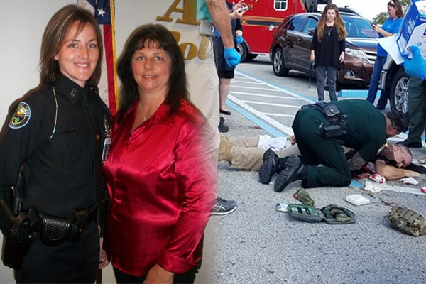 Officers shot repeatedly after felons open fire.  By some miracle, they survived.