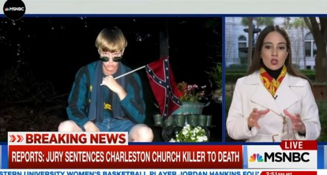 MSNBC, screen shot, shows photo of Dylann Roof. MSNBC reporter, explaining the death sentence that was handed down in his hate crime and murder trial.