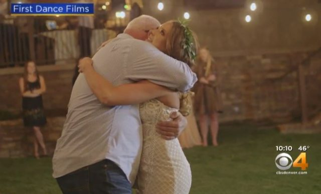 Screen Shot CBS Denver Kourtney dances with her late father's brothers in blue
