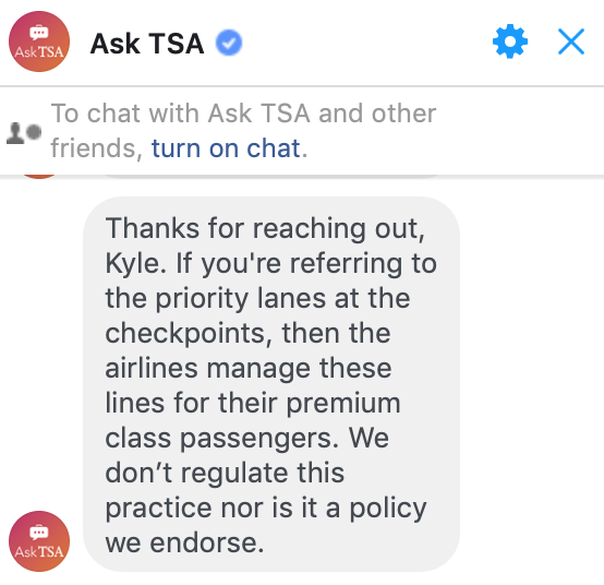 TSA response on Southwest