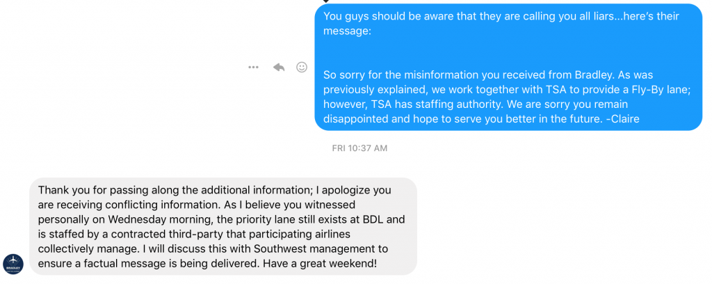 BDL response on Southwest