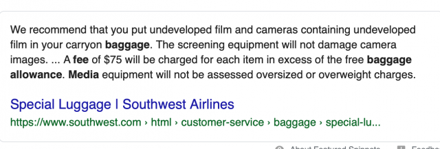 Southwest airline policy