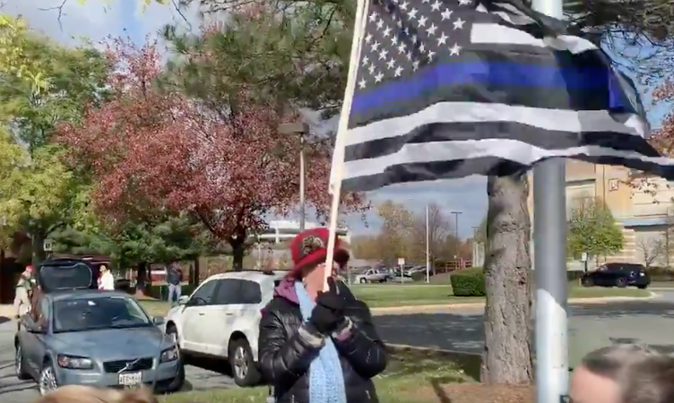 Locals stand with cops in protest after county bans Thin Blue Line flag