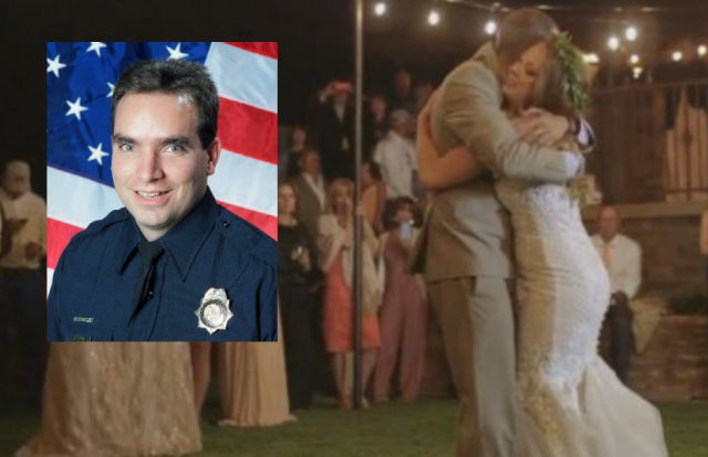 Brothers in blue stand in for fallen officer on daughter's wedding day