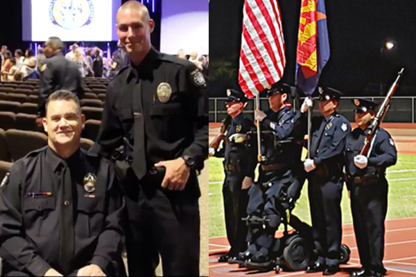 Proud American: Paralyzed officer stands for flag for first time in 14 years