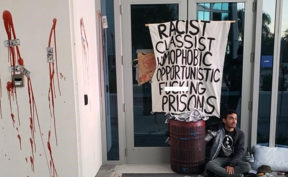 """ICE facility vandalized: """"Racist, classist, homophobic, opportunistic f**king prisons"""""""