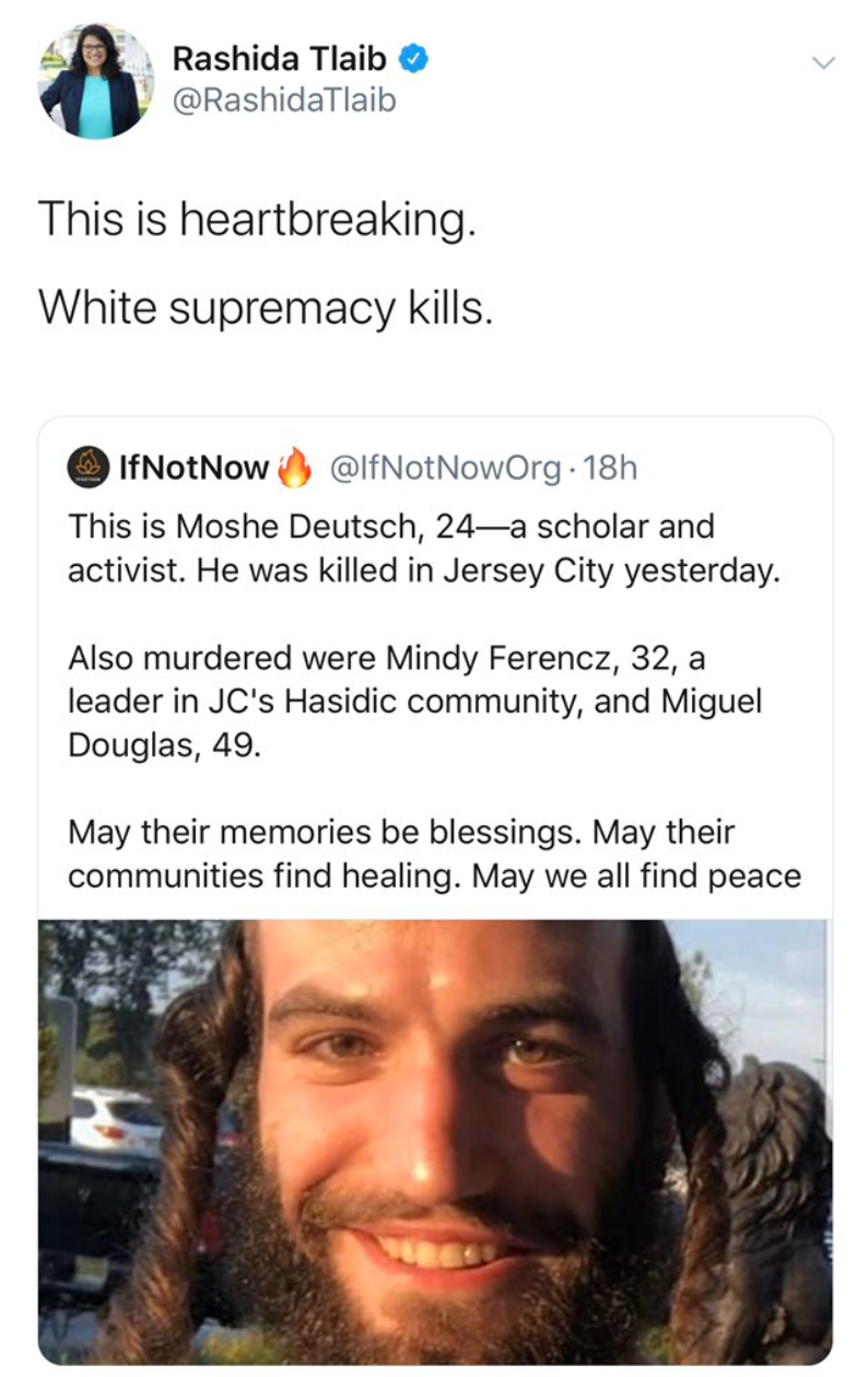 """Squad member blames Jersey City shootings on """"white supremacy"""". The shooters were black."""