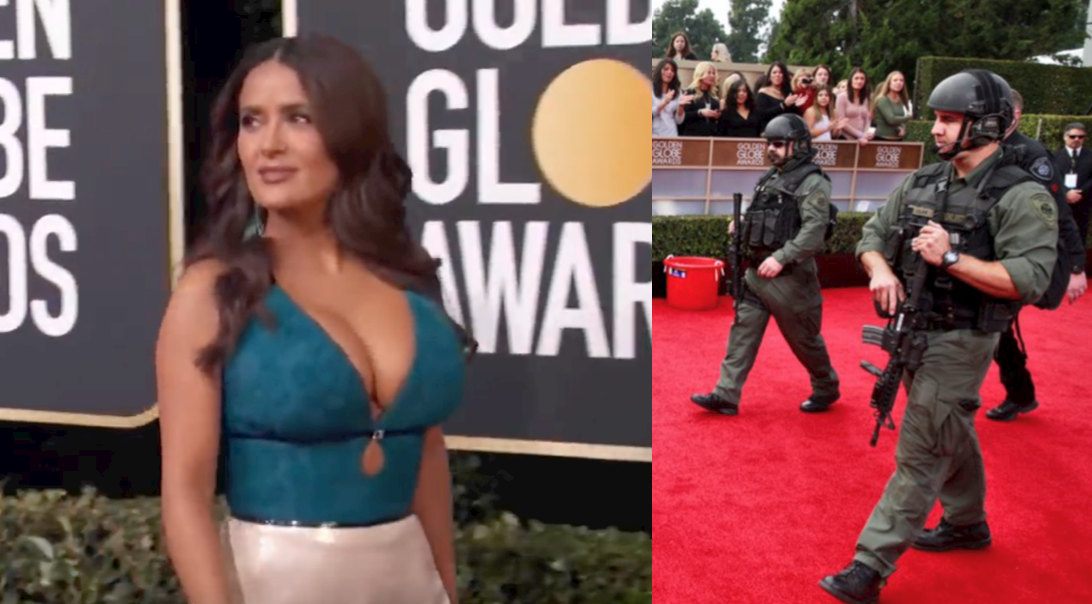 Anti-gun celebrities protected by armed police officers at Golden Globes