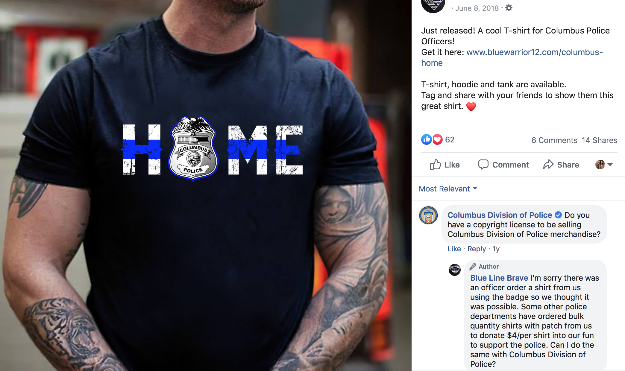 Source: Company selling shirts in memory of fallen officers, lying about donating to charity