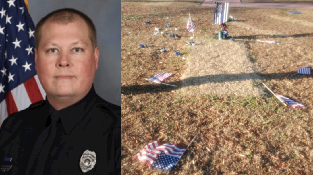 Murdered officer's grave desecrated before headstone even placed