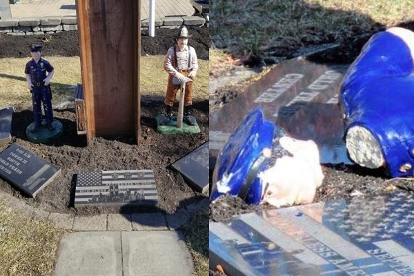 Vandals destroy 9/11 memorial to first responders. Dozens of firefighters come to the rescue.