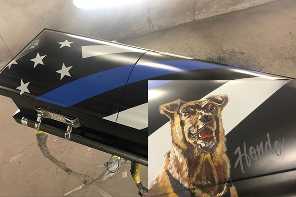 Company hand-paints casket for K9 officer killed in the line of duty