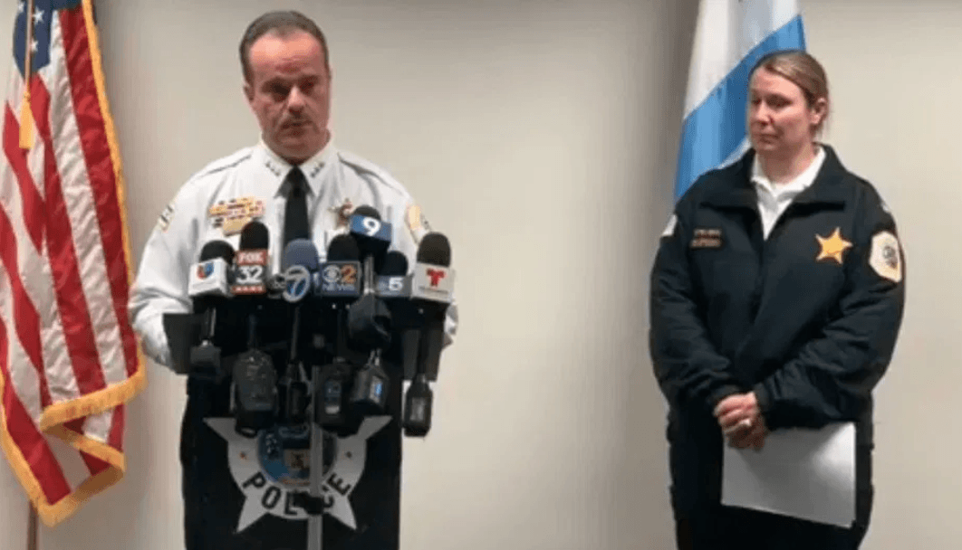 Chicago Police Dep. Supt. Anthony Riccio and Near North Police Cmdr. Jill Stevens announce plans to counter a rise in carjackings. | Facebook