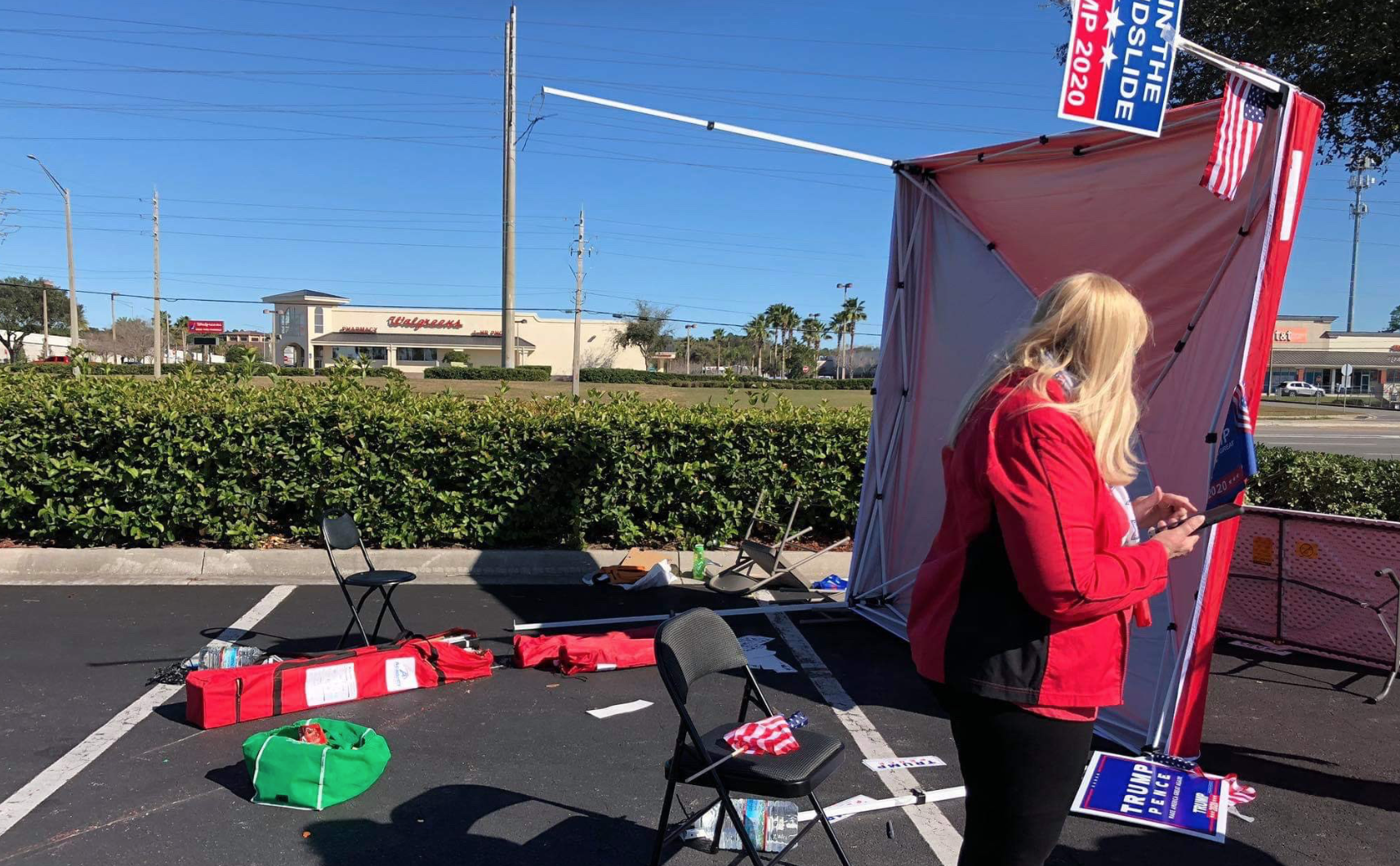 Police: Florida driver intentionally plows into Republican voter registration booth