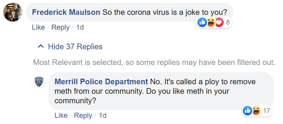 Internet warriors flip out after police department offers to test meth for Coronavirus