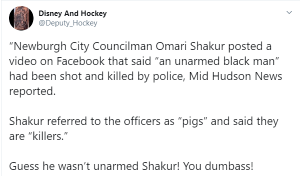 "Armed suspect fatally shot. Riot, fires start after Councilman says ""pigs"" are ""killers"" who shoot unarmed black men""."