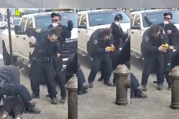 NYPD officer sucker-punched by man in medical mask while arresting a robbery suspect
