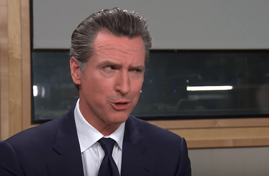 KQED news screenshot from YouTube of Governor newsom