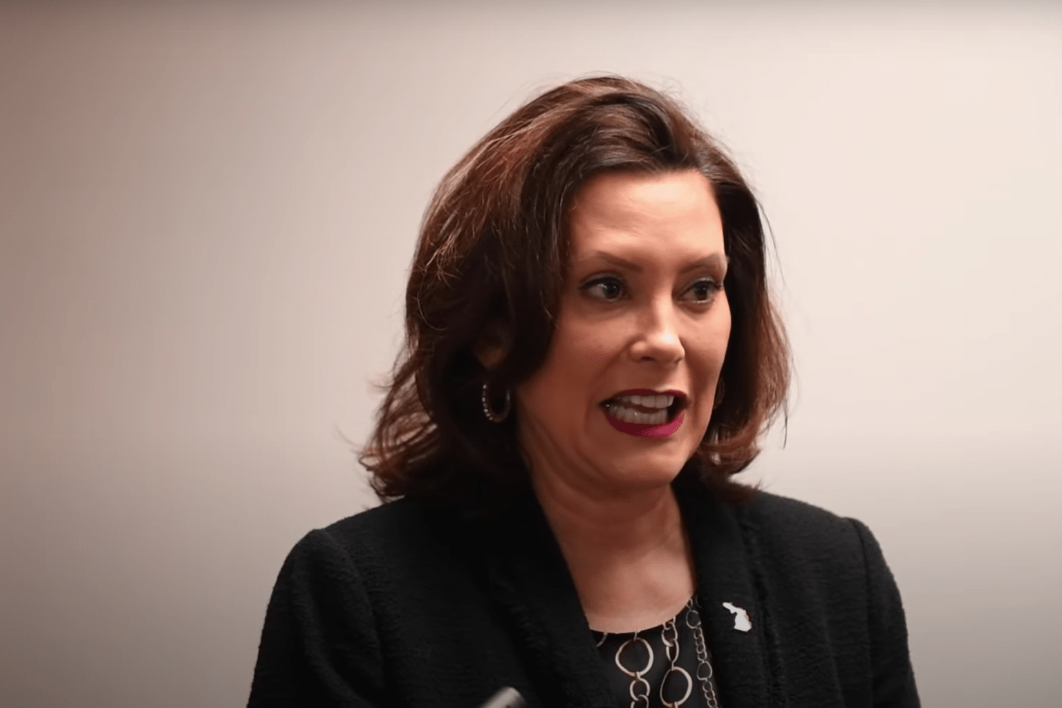 Screenshot from MLive report on YouTube: Governor Gretchen Whitmer talks about Michigan's roads