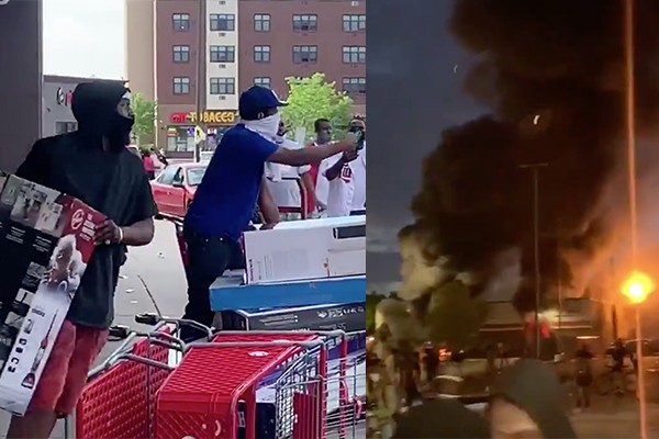 Minneapolis is burning: Rioters loot stores, light fires and throw explosives as police struggle to quell violence